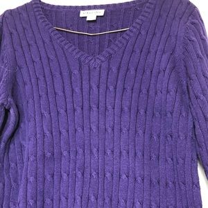 ST JOHN'S BAY PURPLE V NECK CABLED WOMAN'S SWEATER